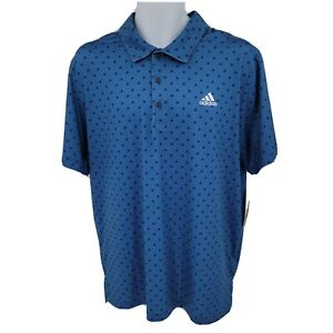 New Adidas Men's Ultimate UPF50 ADI Print Golf Polo Collared Button Shirt SZ XL