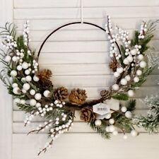 CHRISTMAS WHITE BERRY PINE CONE RUSTIC HOOP WREATH,HANGING DOOR WALL DECORATION