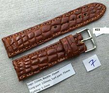 Watch Strap Band Handmade 23 22mm/20mm Brown Genuine Crocodile Alligator Leather