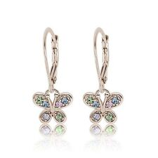 Kids Earring 925 Sterling Silver White Gold Mixed Colored Crystal Butterfly