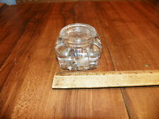 Vintage Art Deco Clear Glass Inkwell w Lid                                     $