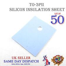 50x TRANSISTOR Isolamento Foglio in silicone TO-3PII Isolante Calore Pad 20x25mm