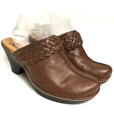SOFFT Brown Leather Slip On Mules Women's Shoes Size 9M