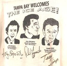 RARE XL T-shirt TAMPA BAY Ice Age signed TONY & PHIL Esposito & TERRY CRISP vtg