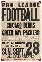 """1930 Chicago Bears Green Bay Packers At City Stadium Retro Metal Sign 8"""" x 12"""""""