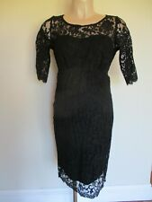 SERAPHINE LUXE MATERNITY BLACK LACE FORMAL PARTY COCKTAIL DRESS SIZE 10 NEW
