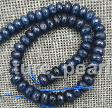 Natural 6x10mm Faceted DARK Blue Sapphire Abacus Gems Loose Beads 15''AAA
