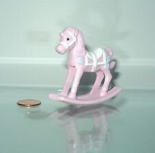 MINIATURE DOLLHOUSE PINK HORSE NURSERY TOY FOR/FITS MATTEL BARBIE BABY DOLL