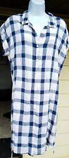 NEW Anthropologie Cloth & Stone women dress tunic M blue white checks Tie Waist