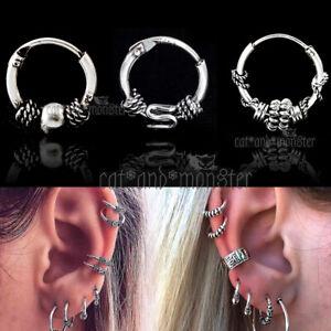 Mens Women Kids Sterling Silver Ear Cartilage Piercing Hoop Ring Sleeper Earring
