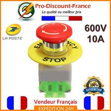Bouton Arrêt Urgence Coup De Poing Poussoir 600V 10A Coupure Electricité Stop