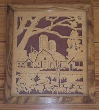 VTG Folk Art Fretwork Wall Picture Farm Scene ~ Hand Made Detailed Work ~Signed