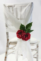 IVORY SLUB ORGANZA CHAIR SASHES /TABLE RUNNERS /HOODS EVENT WEDDINGS CONFERENCES