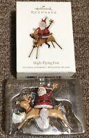 High-Flying Fun 2010 Hallmark Christmas Ornament Santa Claus Riding A Reindeer
