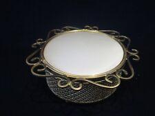 Vintage Hollywood Regency Footed Gold Filigree Glass Vanity Powder Puff Jar Box