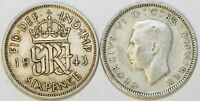 1937 to 1946 George VI Silver Sixpence Your Choice of Date / Year
