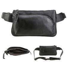 Travel Work Shoulder Bag Fashion Waist Bum Bag Black Real Leather Fanny Packs
