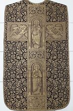 Antique French Church Vestment Chasuble Priest Embroidered Goldwork Panel 1930's