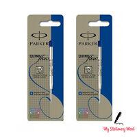2 Pack Genuine Parker Ballpoint Refill BLUE Biro Medium Quink Flow Ball Pen