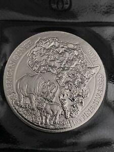 2012 African Rwanda Rhino 1oz Silver Coin 1 oz bullion fine 999