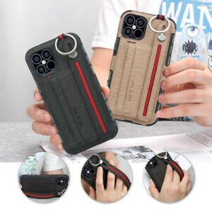 Shockproof Card Slot Hand Strap Hybrid Case Cover For iPhone 11 12 Pro Max XR 8