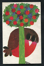 C1980s Illustrated Christmas Card: Robin & Holly Tree