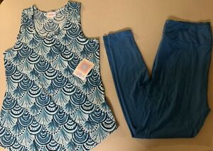 Lularoe Tank Top Large W/ TC Leggings Solid Blue Outfit