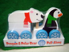 Penquin and Polar Bear wood pull along toy 8 inches store new