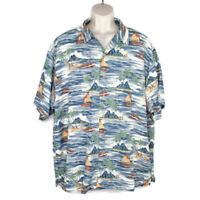 Big Dogs Mens Blue Floral Hawaiian Camp Shirt SZ 2XL Island Palm Tree Sailboats