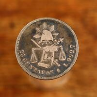 Raw 1885 Mexico 25c Mexican Silver 25 Centavos
