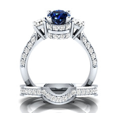 925 Silver Jewelry Round Cut Blue Sapphire Fashion Wedding 2pcs Ring Size 10
