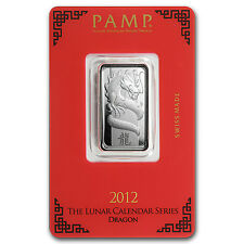 10 gram Silver Pamp Suisse Year of the Dragon Bar - In Assay - SKU #76213