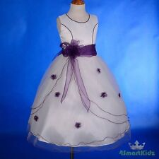 White Purple Scoop Formal Flower Girl Dress Wedding Communion Party Size 2 #220A