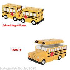 Ceramic School Bus Cookie Jar and Salt Pepper Shaker Set  Kitchen Decor