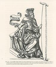 ANTIQUE PROPHET ISAIAH MARTYRDOM PREDICTS BIRTH OF MESSIAH EMMANUEL OLD PRINT