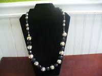 "Vintage Silvertone Metal & Black Plastic Textured Bead 27.5"" Necklace"