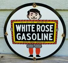 """round ~12/""""..FREE ship on 10 signs White Rose gas Oil gasoline sign .."""