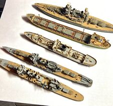 Folk Art 5 Early Hand Carved Wooden Miniature WW2 War Ships A Freighter + Cargo