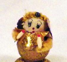 Vintage Angel Christmas Decoration Figurine Cotton Batting Gold Glitter Japan 34