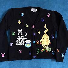 JACK B QUICK Cat Sweater Cardigan Kittens Petite M PM cats kitten  Cat Lady