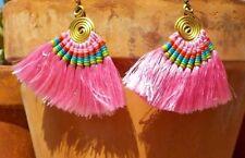PINK TASSEL & BRASS WIRE PIERCED EARRINGS TRIBAL BELLY DANCE  BOHO FREE SHIPPING