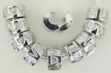 10 Lock Clip Stopper Set Antique Stamped LOVE Fits European Style Bracelets  L03