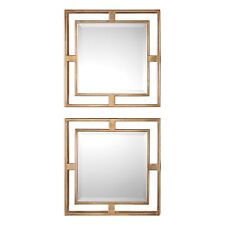 Mid Century Modern Mirror Square Set | Gold Open Group Retro