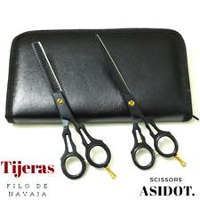 """Tijeras de peluquería profesional Negro Mate con tijeras de adelgazamiento 6"""""""