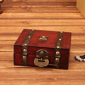 Vintage Wood Treasure Chest Wooden Jewellery Earrings Storage Organizer Gift Box