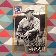 #102 Babe Ruth red sox 5x7 Jersey # 3/10 made Gold 2019 Topps 150 Years Greatest