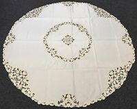 """Beige Ivory 90"""" Round Fabric Embroidered Floral Embroidery Tablecloth 12 Napkins"""