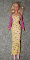 1966 blond Barbie Doll green eyes yellow dress pink boots