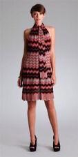 HALE BOB Rust Chevron Striped V-Neck Halter Dress W/ Neck Scarf, Size S NEW $274