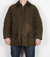 "BARBOUR Classic Beaufort Wax Jacket Chest 42"" Medium Large Green Vintage (AAC)"